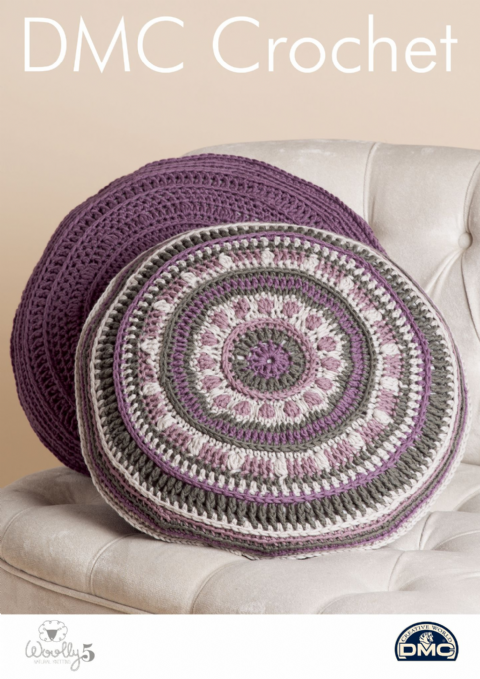 Mind Your Mandala Pillows 15422L/2 - Home Woolly 5 DMC Crochet Pattern